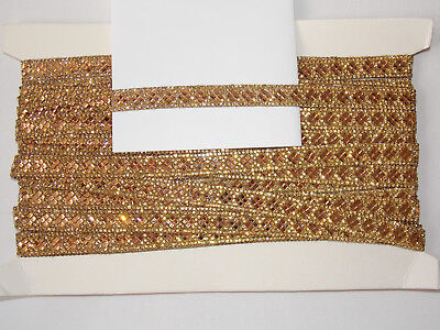 1m 6.5cm gold yellow pink crystal indian arabic paisley braid lace wedding