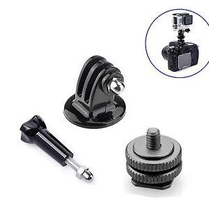 1/4'' Hot Shoe Adaptor +Tripod Mount +Screw For GoPro Hero 2 3 3+ 4 DSLR Camera 6923600421263