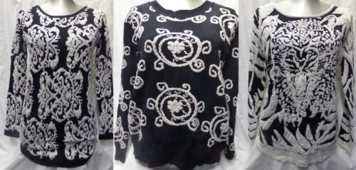 3 PRINTS Sizes 8-14 Women Ladies New Thick Black /& Cream Embossed Jumpers//Tops