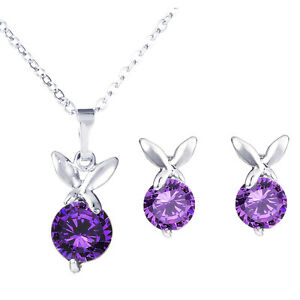 Argent-Violet-Papillons-Zircon-Set-Bijoux-Clou-Femme-Boucles-Collier-S656
