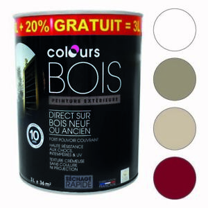 Peinture-bois-exterieur-3-litres-Blanc-Taupe-Galet-Rouge-basque