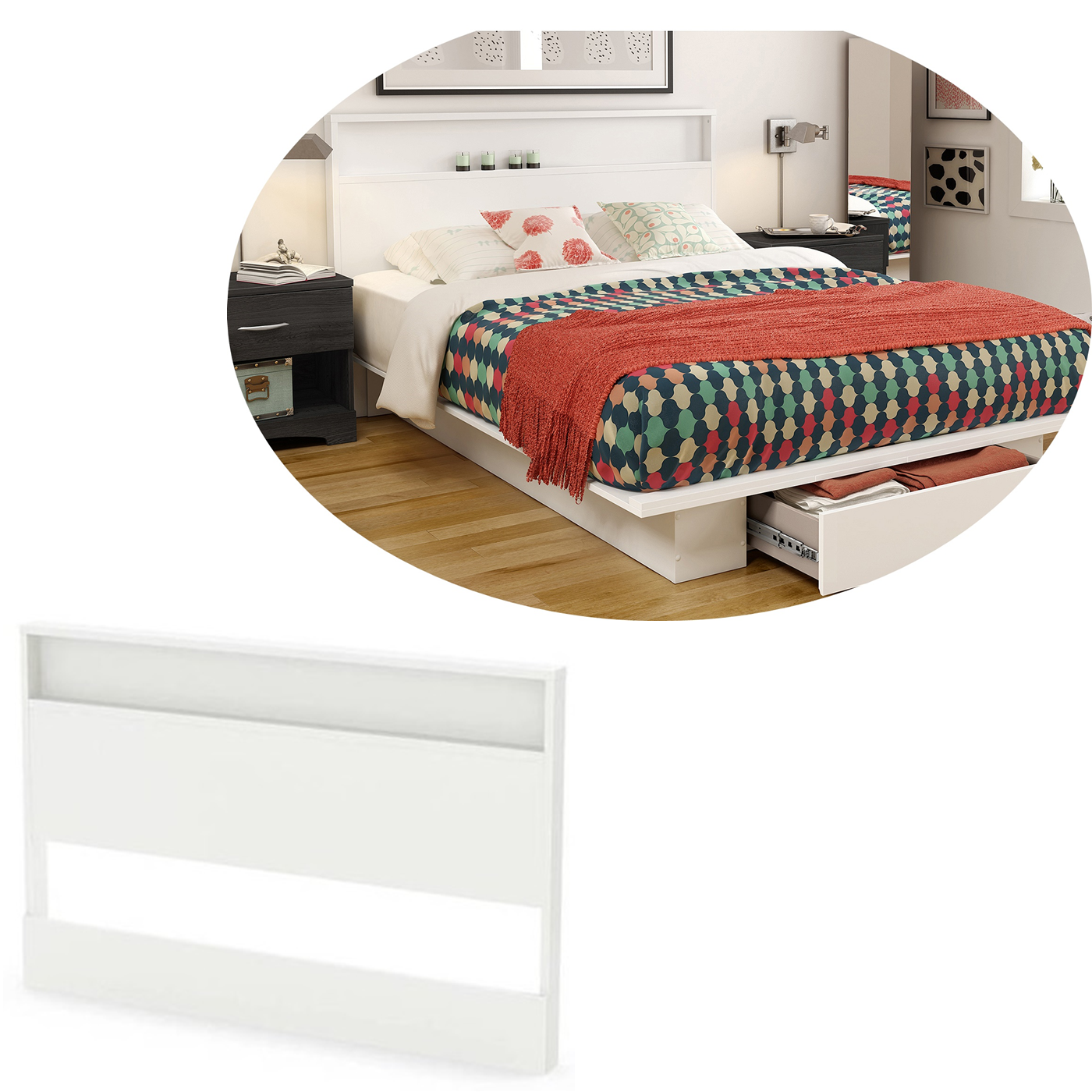 Modern Wood Headboard With Shelf Queen Full Size Bed Frame White South Shore