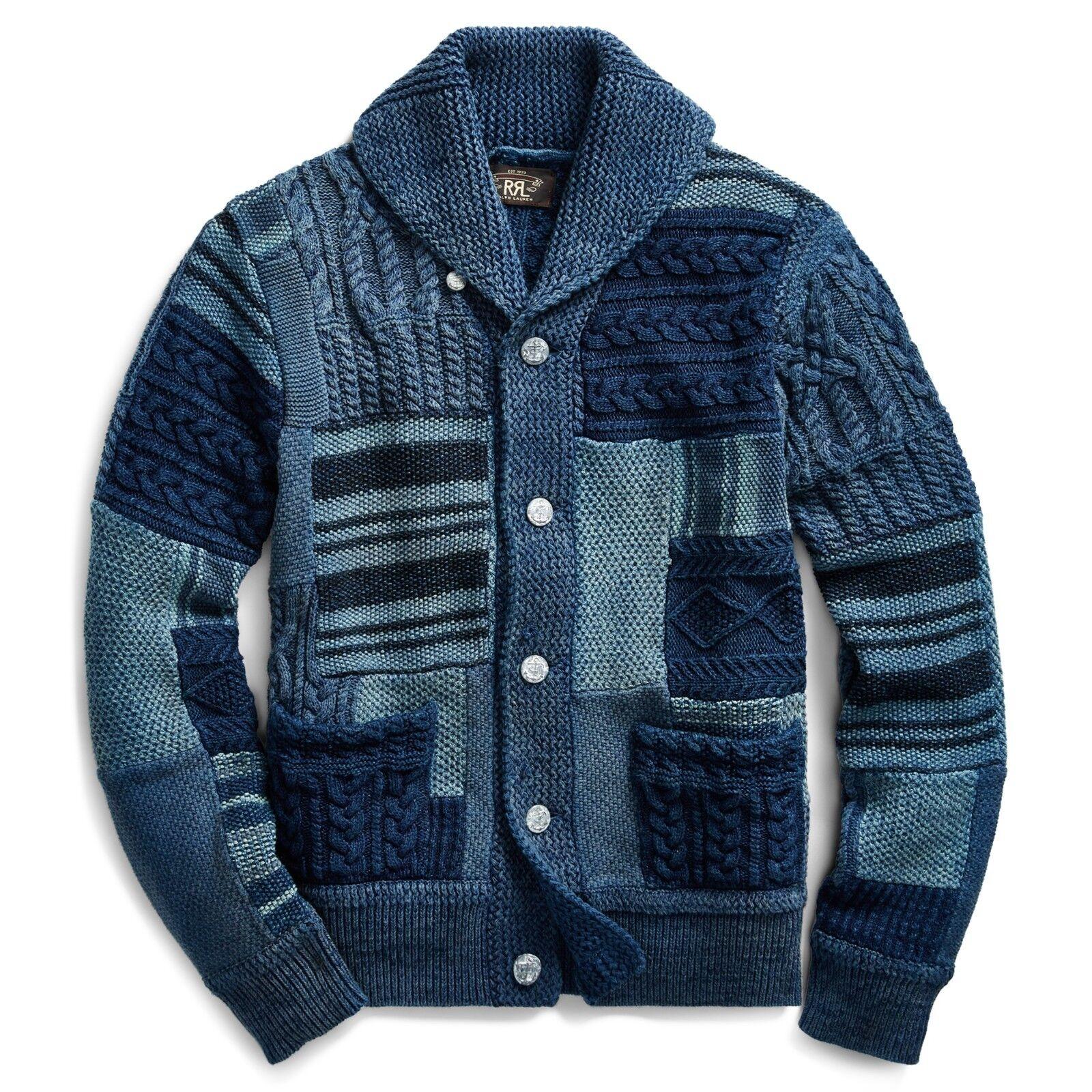 RRL Ralph Lauren Indigo Dyed Hand Patchwork Cotton Shawl Collar Cardigan NWT S