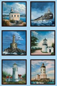Elizabeth-039-s-Studio-West-Coast-Lighthouses-Cotton-fabric-by-the-panel-24-034-X-43-034