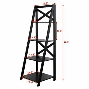 official photos eb656 7c0ca 4-Tier Storage Ladder Bookcase Metal Display Leaning Shelf Bookshelf Home  Office