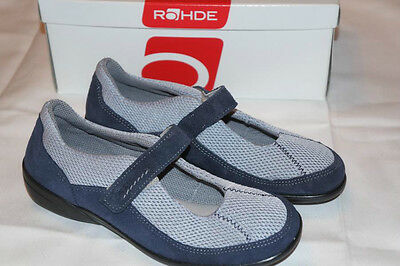 Rohde Halbschuhe Damen Gr. 37 UK 4 1/2 Velourleder Sportex blau