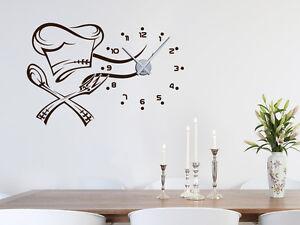 wandtattoo uhr mit uhrwerk wanduhr k che m tze mit zahlen koch ebay. Black Bedroom Furniture Sets. Home Design Ideas