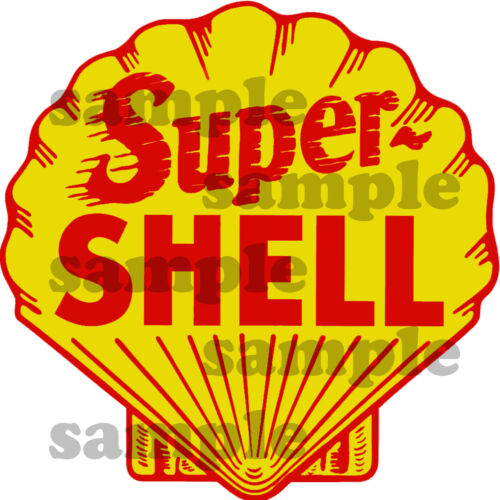 4 INCH SUPER SHELL GAS OIL GASOLINE WATERSLIDE DECAL STICKER