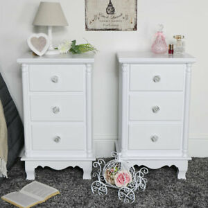 Pair-of-white-3-drawer-bedside-chest-of-drawers-vintage-French-bedroom-furniture