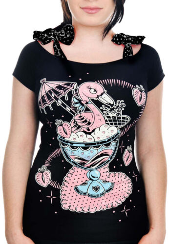 Banjo /& Cake FLAMINGO SUNDAE Ice Cream Annabel Bow SHIRT Rockabilly