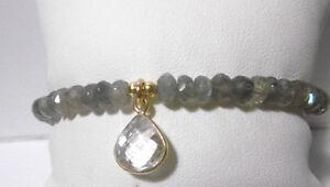 Labradorit-Armband-925-Silber-vergoldet-Bergkristall-Anhaenger