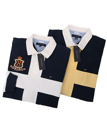 Tommy Hilfiger Men's Long Sleeve Logo Classic Fit Rugby Polo Shirt -Free $0 Ship
