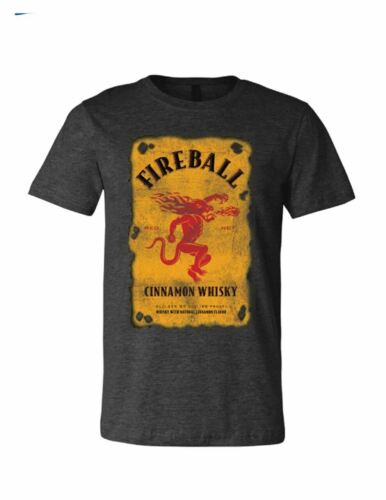 Brew City Beer Gear Fireball Cinnamon Whisky Distressed Label Short Sleeve T-shi
