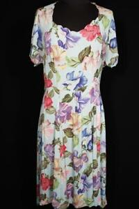 EXCEPTIONAL-FRENCH-VINTAGE-WWII-ERA-1940-039-S-SILKY-RAYON-FLORAL-DRESS-SIZE-12