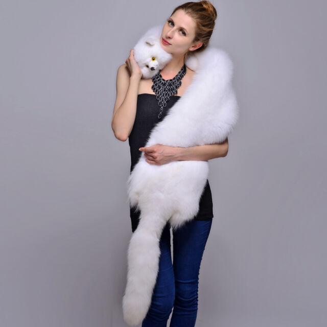 84850452d8e1d Women Men Real WHOLE White Fox Fur Shawl Cape Wrap Scarf Fur Collar Neck  Warmer for sale online