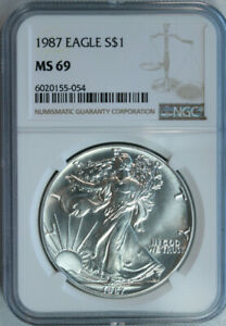 1987-NGC-MS69-Silver-American-Eagle-Dollar-Mint-State-69-1-Oz-999-Pure