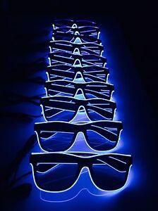 10-PAIA-Blu-Neon-Occhiali-da-sole-acquistare-BULK-Job-Lotto-Stag-Do-Festa-LED-Pack-lotto