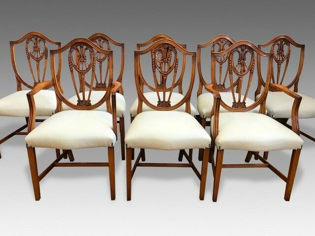 Set 8 to 14 Ivory leather Prince of Wales style Chairs Pro French polished