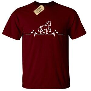 Equitazione-Cuore-Beat-Pulse-T-Shirt-Uomo-Equestre-Maglietta-Divertente-Regalo