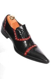 Zota Men Black Red Leather Studded