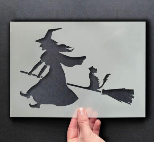 Stoffe Möbel Art Halloween Schablone Hexe auf Besenstiel Malen Zeichen,Wände