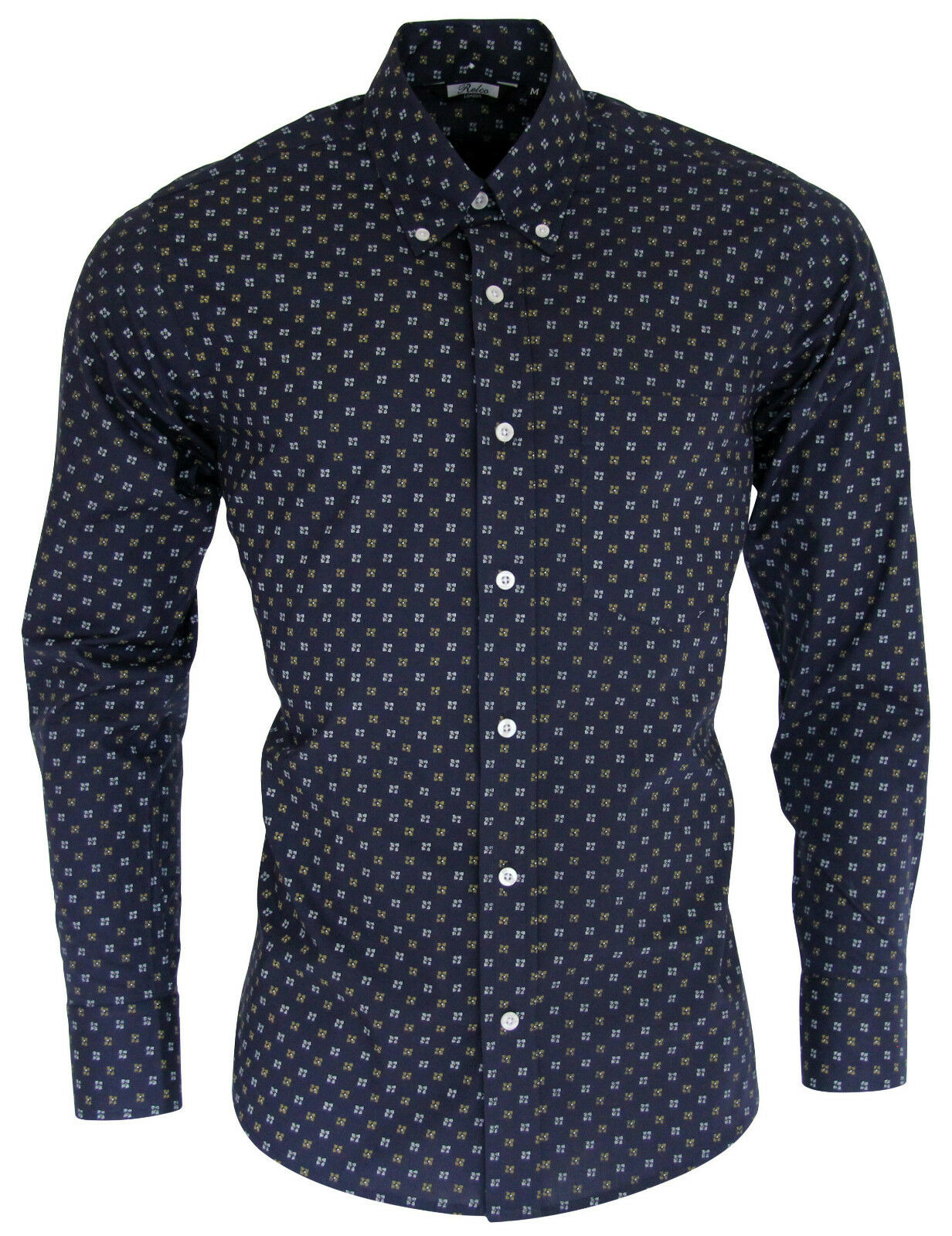Relco Mens Navy Abstract Patterned Long Sleeved Button Down Vintage Shirt Retro