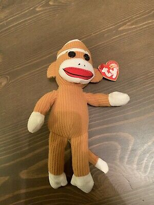 "Ty Beanie Baby Tan Corduroy Socks the Sock Monkey with Tags 9/"" May 2011"