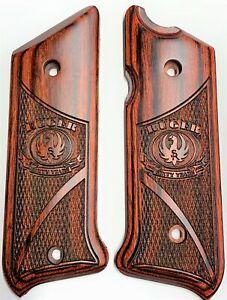 Ruger-Mark-III-MK-III-Checkered-Rosewood-Wood-Grips-w-Logo