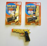 2 Gold Toy Cap Guns 7 Police Pistol Detective Revolver Fires 8 Ring Caps