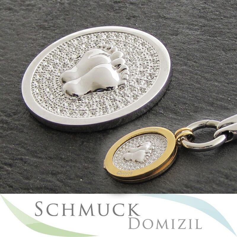 Quoins - Scheibe   Münze mit Zirkonias - QMOA-32L-Z - Babyfüsschen