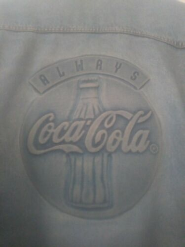 Vintage Tyca 3D Embossed Coca Cola Coke Bottle Logo Blue Denim Jean Jacket XL