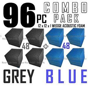 The-BIG-DEAL-ComBo-96-pack-GREY-amp-BLUE-Acoustic-Wedge-Sound-Studio-Foam-12x12x1