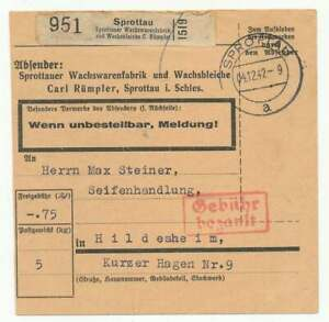 D.Reich Selbstbucher-Paketkarte SPROTTAU 4.12.42, Barfrankatur (55360)