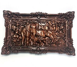 Wood-Carving-Elephants-Wall-Art-Decoration-3D-Carved-Wooden-Home-Decor-Gift