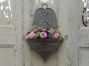 Chic-Antique-Wandkorb-f-Blumen-Blumenkorb-f-d-Wand-Metall-grau-Vintage