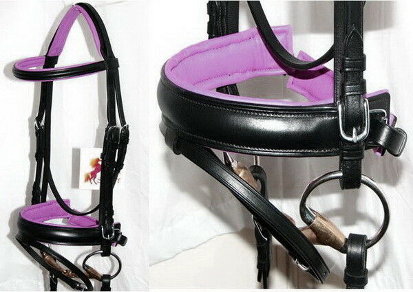 FSS German BRIGHT FUCHSIA  HOT PINK Comfort Padded Poll Crank Dressage BRIDLE New  100% brand new with original quality