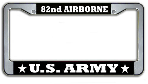US Army 82nd Airborne Metal Automobile Military License Plate Frame Holder