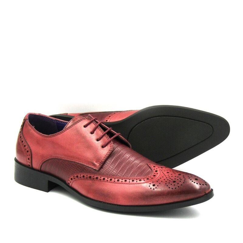 Brand New Men's Cut Out Brogue Formal Wedding Office Dress Shoes - Burgundy