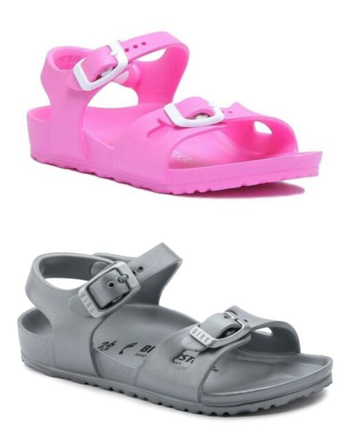 on sale acb43 e6735 Birkenstock Rio EVA Kids Narrow Fit Double Strap Sandals in Neon Pink and  Silver
