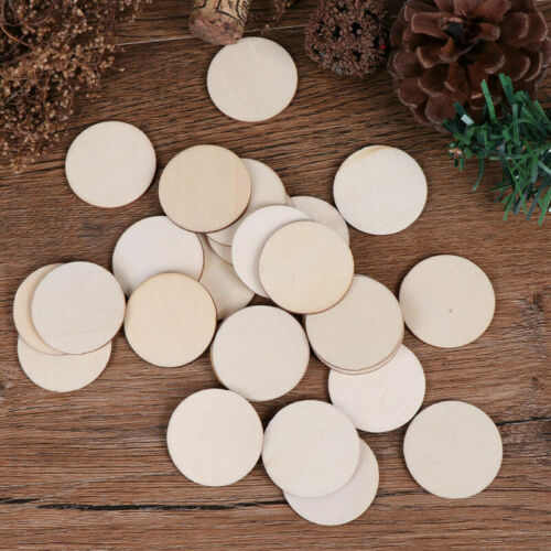 50x Discs Unfinished Crafts Round Blank Wooden Slice DIY Wood Pieces Natural