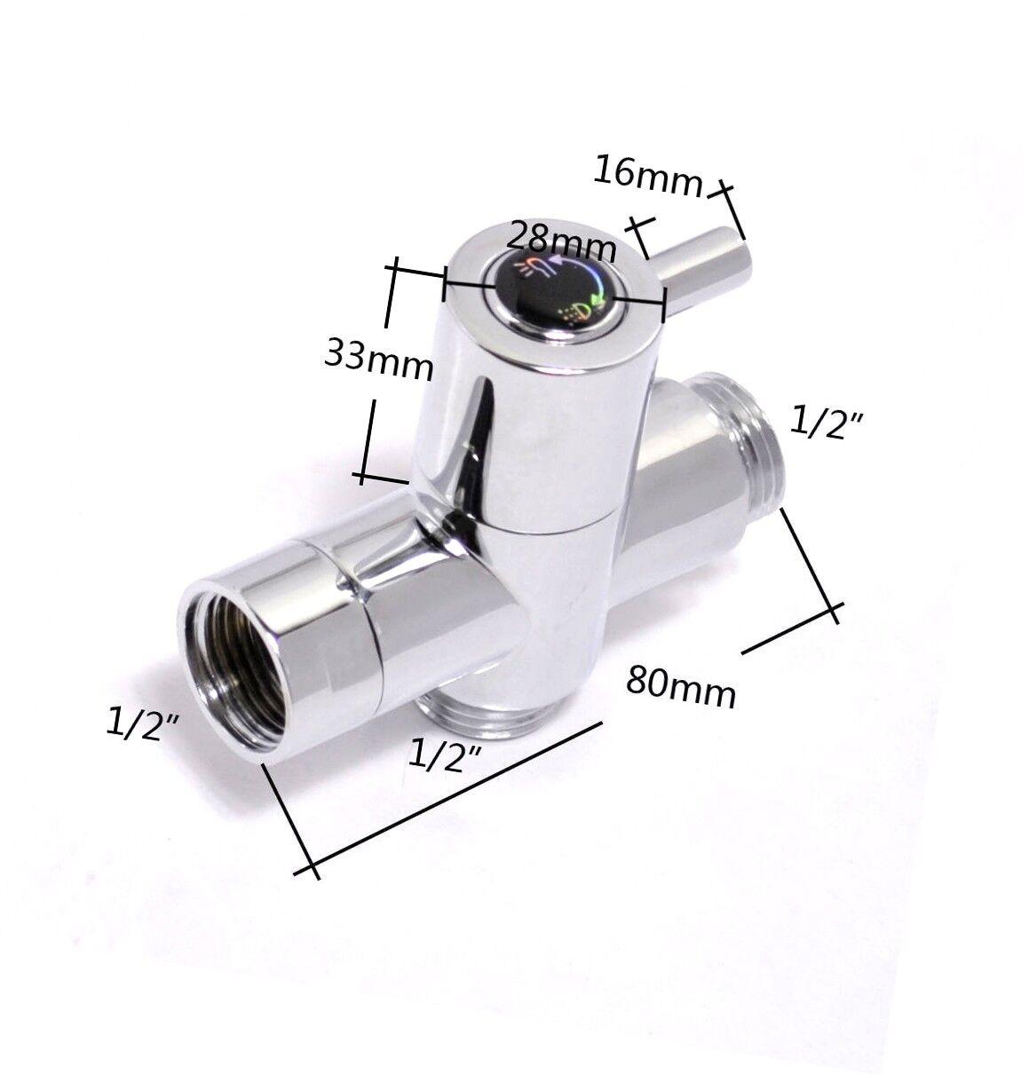 Details About 3 Ways T Adapter Valve Diverter For Handheld Shower Head Or Bidet Sprayer G1 2