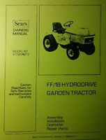 Sears Ff/18 Garden Tractor, 54 Plow & 3-point Owner & Parts Manual 64p (3 Books