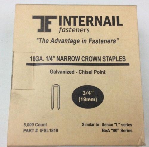 """L19 staples Internail L11 18 Gauge Narrow Crown Staples 1//4/"""" Crown x 3//4/"""" Leg"""