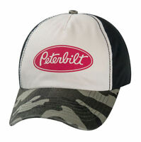 Peterbilt Distressed Vintage Faded Camouflage Logo Camo Trucker Cap Hat