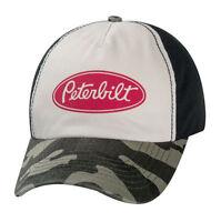 Peterbilt Distressed Vintage Faded Camouflage Logo Camo Trucker Cap Hat