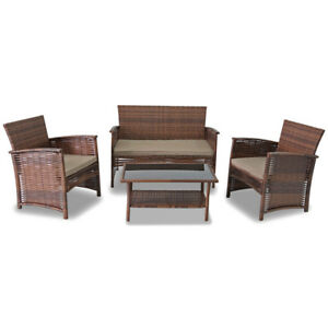 NEW-4-PIECE-WOVEN-WICKER-PATIO-SET-RATTAN-CHAIRS-SOFA-amp-GLASS-TOP-TABLE-SET