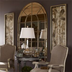 Antiqued Gold Metal Arched Wall Floor Mirror 72\'\' Arch 759526404501 ...