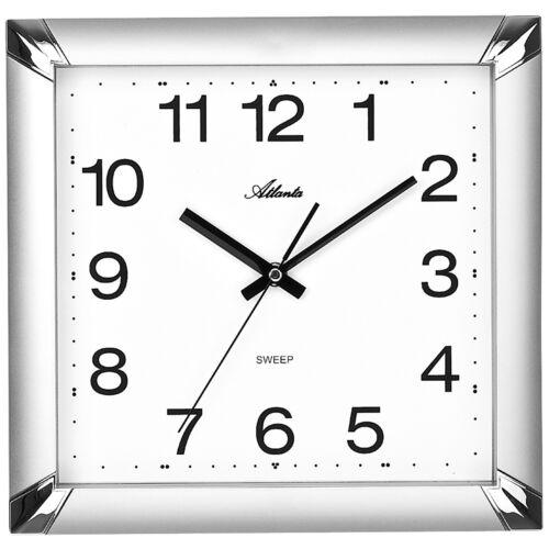 Atlanta 4457//19 Horloge Murale Quartz Analogique argentés rectangulaire Silencieux sans faire TIC-TAC CA 29x29 cm