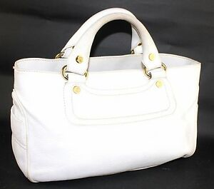 Image is loading Auth-CELINE-Ladies-White-Leather-Multi-Chamber-Hand- 60f7e34adc15c