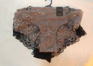 Boy-Leg-new-womens-size-3x-Panties-Lace-2-pack-black-taupe-Z1